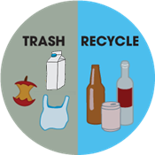 Sort Smart: drawing of trash with chip bag, apple core, and plastic bag on left and recycle with glass bottles and can on right